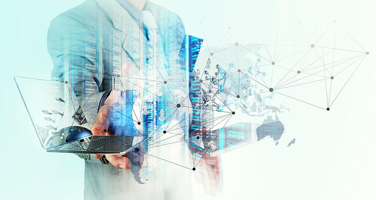 Double exposure of businessman shows modern technology as concept-3
