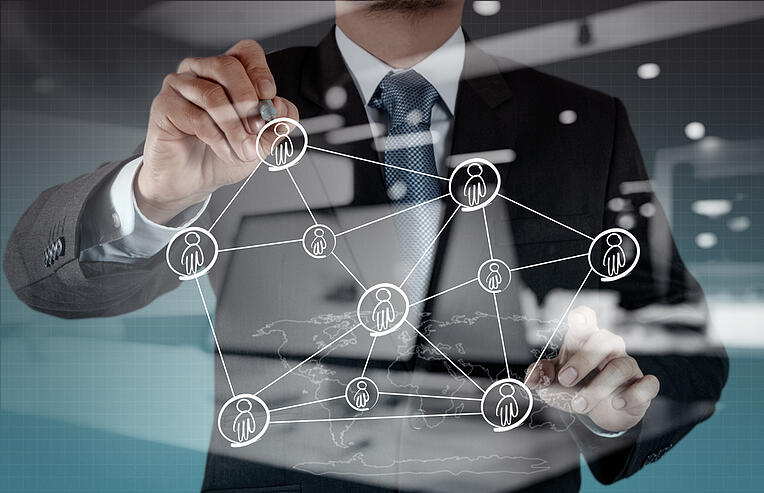 Double exposure of businessman working with new modern computer show social network structure-1