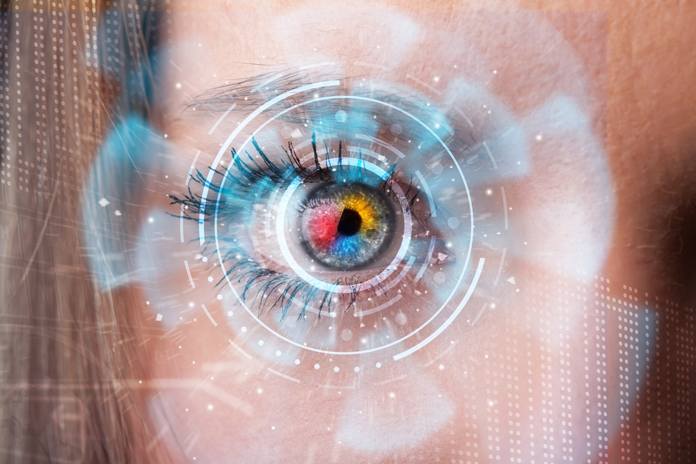 Future woman with cyber technology eye panel concept-2