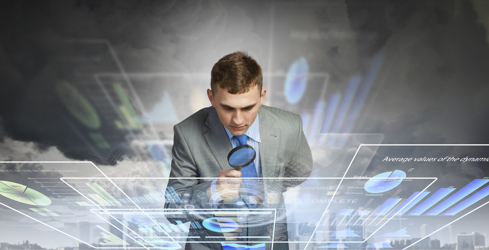 Image of businessman examining objects with magnifier-3