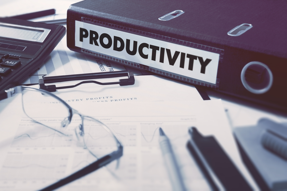 Productivity - Ring Binder on Office Desktop with Office Supplies. Business Concept on Blurred Background. Toned Illustration.