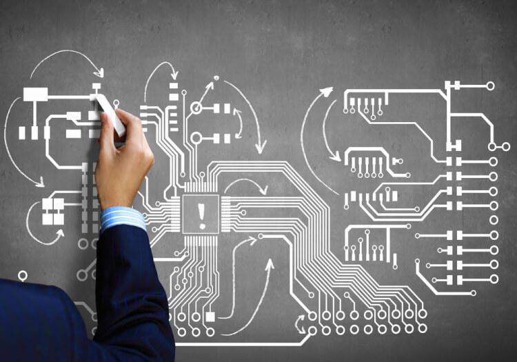 Close up image human hand drawing circuit board-1