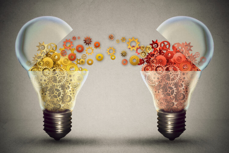 Idea exchange concept. Ideas agreement Investing in business innovation and financial commerce backing of creativity. Open lightbulb icon with gear mechanisms. Funding potential innovative growth-2