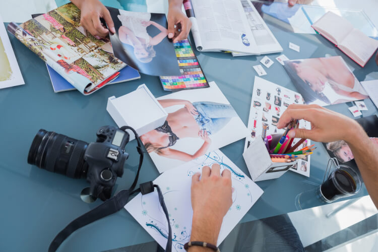 Pictures of photos and magazines used by photo editors