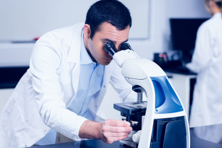 Science student looking through microscope at the university