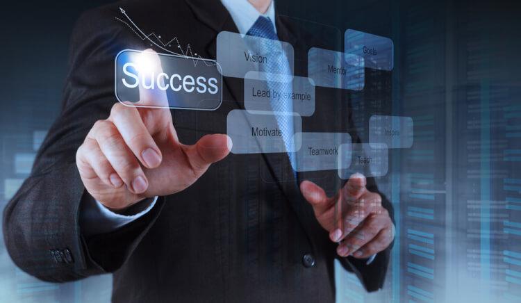 businessman hand shows  business success chart diagram concept