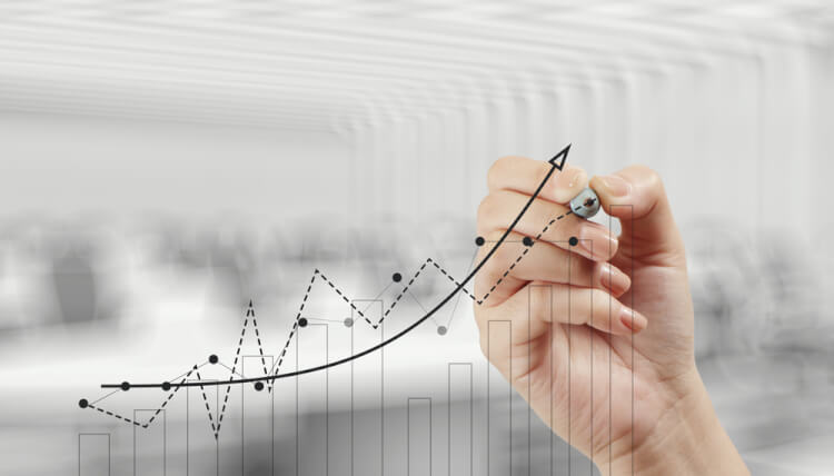 hand drawing graph chart and business strategy as concept-1