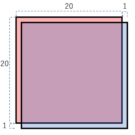 図51-20だけずらした正方形