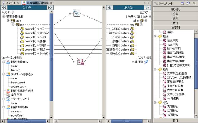 データマッピング画面(1対1変換)