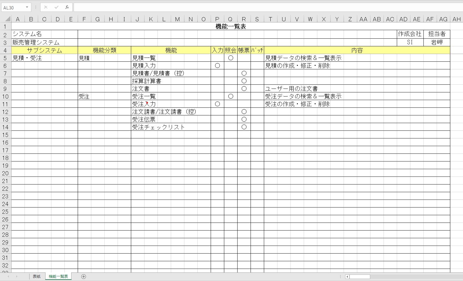 feature list sample