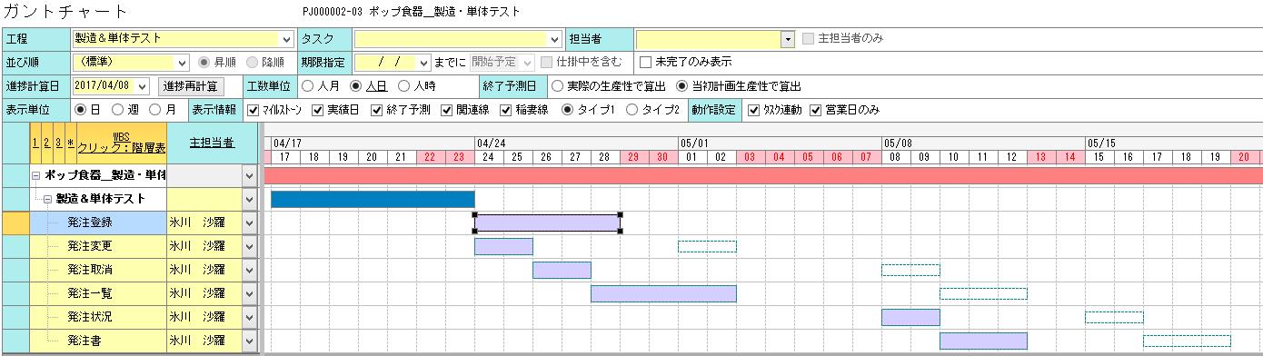 ガントチャート タスク連動